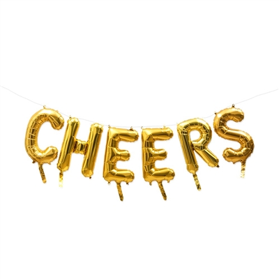 Gold Mylar Foil Letter Balloon Decoration - Cheers
